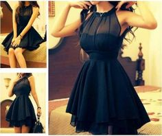 Pretty black lace mini party dress fashion...