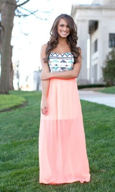 The Pink Lily Boutique - Bold and Beautiful Sequin Aztec Maxi Coral , $42.00 (http://thepinklilyboutique.com/bold-and-beautiful-sequin-aztec-maxi-coral/)