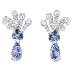 Cygne earrings in white gold, diamonds, purple spinels and sapphires by Dior Joaillerie