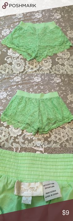 Mint green lace crochet shorts These shorts are a mint, lime, neon kiwi type color and have an elastic waist so will have a forgiving fit! The crocheted lace looks like roses, and has a scalloped edge. There's also a lining behind the lace part. Too short for me anymore, so would love to find these a new home. Miss Me Shorts
