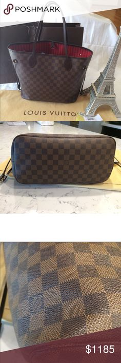 💯 Authentic Louis Vuitton Neverfull MM Louis Vuitton Damier Ebene Neverfull MM. Condition gentily used. Have signs of wear exterior scuffs or marks, interior lining wear. Leather creasing. Corners have scuffs. Couple light scuffs on canvas barely visible. Hardware still very shiny with minimal scratching, look the pictures. Made in France. (Comes with dust bag, paper bag) NO TRADE NO OFFERS IN COMMENT. DOEST NOT COME WITH POUCHETTE. Thank you for visit my Closet. 💕 Louis Vuitton Bags Totes