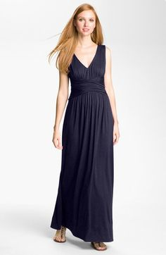 Three Dots V-Neck Jersey Maxi Dress available at #Nordstrom jersey = sweat all you want. Points for practicality.