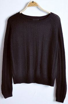 Black Round Neck Long Sleeve Hollow Pullovers Sweater