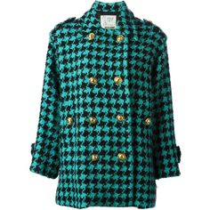 Moschino Vintage Houndstooth Coat ($1,048) ❤ liked on Polyvore featuring outerwear, coats, jackets, coats & jackets, green, vintage coat, moschino, double breasted coat, long sleeve coat and hounds tooth coat