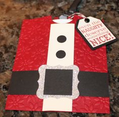 Stampin Up Tags Til Christmas Santa gift card holder.