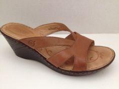 Born #Shoes Womens Size 9 M Tan #Sandals Slides Wedge Heels Leather UK 40.5 #Born #Slides
