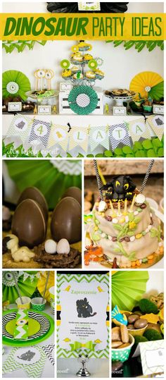 A yellow and green dinosaurs and dragons girl birthday party with a fun cake and party decorations! See more party planning ideas at CatchMyParty.com!