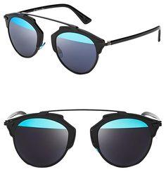 5fb1ceb9d36 Dior Black Blue  so Real  48mm Mirrored Black Silver Sunglasses