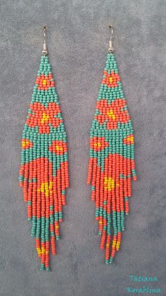 Author's beaded earrings Long evening Seed bead earring chandelier Beadwork Fringe earrings abstraction minimalism earrings turquoise coral - The Effective Pictures We Offer You About diy face mask A quality picture can tell you many things - Beaded Earrings Native, Beaded Necklace Patterns, Seed Bead Patterns, Jewelry Patterns, Beading Patterns, Native Beadwork, Embroidery Patterns, Knitting Patterns, Seed Bead Jewelry