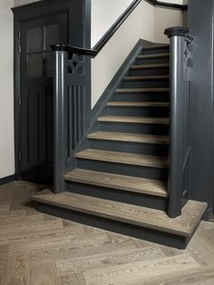 interior oak flooring stairs made by herringbone Nice color in color style of th . - interior oak flooring stairs made by herringbone Nice color in color style of th … interior oak flooring stairs made by herringbone Nice color in color style of th … Black Stairs, Black Painted Stairs, Painted Staircases, Color Style, Wood Floor Kitchen, Modern Basement, Dark Wood Stain, House Stairs, Basement Stairs