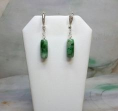 Green jade beads silver earrings, silver jade earrings, jade bead earrings, green jade earrings Jade Earrings, Drop Earrings, Jade Beads, Sterling Silver Hoops, Jade Green, Base, Natural, Photos, Color