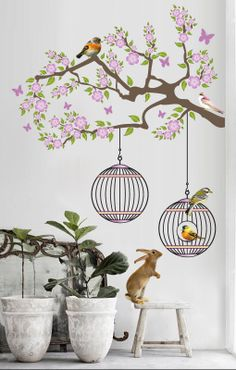 Tree with Photographic Animals and Butterfly Wall Sticker decal - Home Decor , Wall Decor