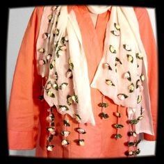 Gorgeous Silk Scarf This beige sheer scarf has rose buds sewn on the lower part with roses and beads for the fringe!!! It is absolutely GORGEOUS!!!!!!! 100% silk. Accessories Scarves & Wraps