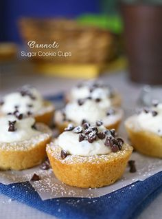 Cannoli Sugar Cookie Cups - Easy sugar cookie cups topped with cannoli filling & chocolate chips. YUM! on kleinworthco.com