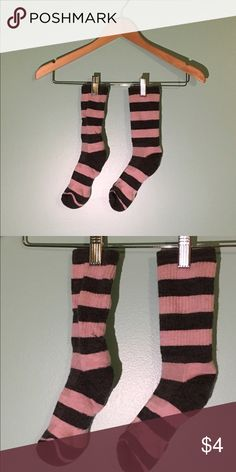 WOOL CREW SOCKS pink and grey striped socks. good condition but the colors may have blended a little, but that is manufacturing error and can be washed out. one size! thanks! :) Accessories Hosiery & Socks