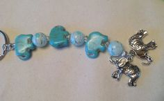 Keychain of Faux Turquoise Elephants with blue and white by BonKim