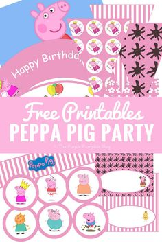 Look no further for Peppa Pig party printables and ideas! Lots of fun inspiration plus a ton of free printables to use for your Peppa Pig themed party!