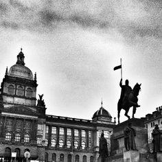 National museum and St. Wenceslas riding statue, Prague
