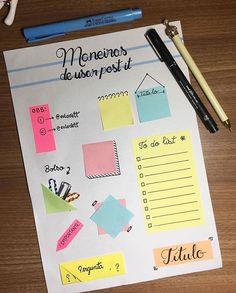 from @eulovett - Ideias pra usar post it!! São as que eu mais gosto 💚 . . . . . #study #vetporamor #studygram #bujo #postit #medvet…