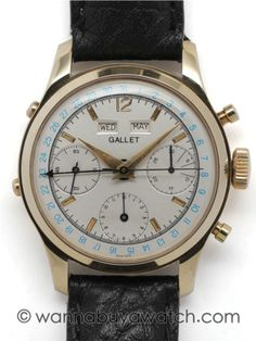 Gallet 14K YG triple date calendar chronograph. 35mm diameter screw back case with original round pushers and crown (pushers on left for setting day, date, and month). Beautifully restored 2 tone satin dial with applied gold markers and blue printed outer date track, arrow tipped date hand, and tapered sword hands. Valjoux 72C (same base movement as the Rolex Jean Claude Killy model) manual wind movement. Excellent condition example, with recent service.. Offered on your choice of fine or…