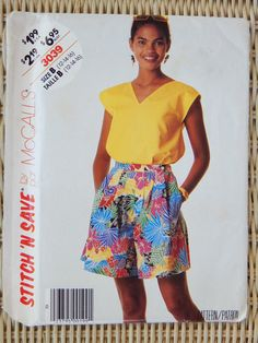 #Gail #Oneil McCall's Stitch 'n Save 3039 - Misses Top and Culottes - Sizes 12, 14, 16 - 1987 Vintage Sewing Pattern