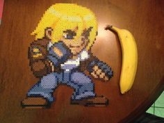 Terry Bogard with a banana for scale Peler Beads, Sprites, Bead Patterns, Charlie Brown, Pixel Art, Bowser, Games, Toys, Fictional Characters