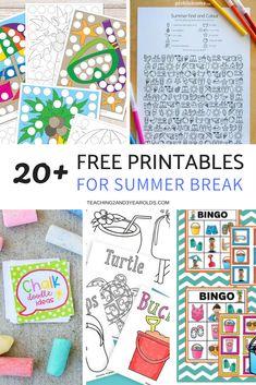 20+ Fun and Free Preschool Summer Printables