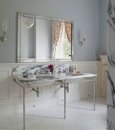 Drummonds Bathrooms - Classic Tudor Guest Bathroom, Surrey - Double Lowther Marble Vanity Basin.