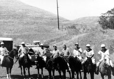 The Polo Team in uniform on their horses at Hidden Hills, circa 1950's. The community of Hidden Hills was founded by developer A. E. Hanson in the late 1950s. Calabasas Historical Society. San Fernando Valley History Digital Library.