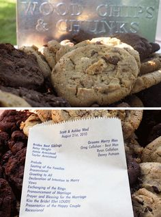This couple printed their programs on a paper bag and served cookies inside of them.