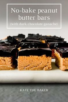 The quick and easy no-bake peanut butter bars recipe are a simple and delicious treat to throw together and enjoy anytime. Potluck Desserts, No Bake Desserts, Easy Desserts, Delicious Desserts, Pastry Recipes, Sweets Recipes, Baking Recipes, Peanut Butter Cookie Bars, Peanut Butter Recipes