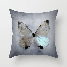 Butterfly pillow case, Nature Photography, butterfly decor, slate icy blue pillow cover, placid blue home decor, bedroom decor, bed pillow