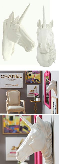 Unicorn taxidermy // whimsical decor design idea... can be used to display necklaces and garlands