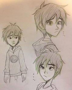 This is a good sketch Disney Sketches, Cool Sketches, Disney Nerd, Disney Fan Art, Baymax, Chibi, Hiro Big Hero 6, Character Art, Character Design
