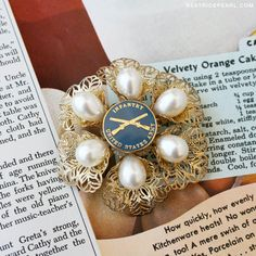 Vintage Pearl Army Infantry Brooch by Beatrice Pearl- How cute would this be as a hair pin for a wedding... :)