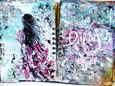 13arts: Art journal pages - just create! video tutorial by Ayeeda
