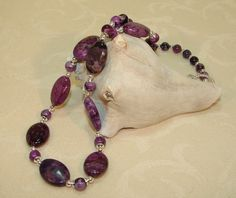 Cool Purple Crazy Lace Agate Gemstone Beaded by ArtisticTouches, $36.00