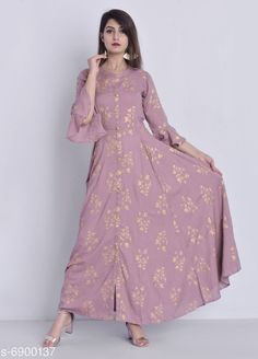 Checkout this latest Dresses Product Name: *Women's Printed Pink Rayon Dress* Fabric: Rayon Sleeve Length: Three-Quarter Sleeves Pattern: Printed Multipack: 1 Sizes: M (Bust Size: 38 in, Length Size: 52 in)  L (Bust Size: 40 in, Length Size: 52 in)  XL (Bust Size: 42 in, Length Size: 52 in)  XXL (Bust Size: 44 in, Length Size: 52 in)  Country of Origin: India Easy Returns Available In Case Of Any Issue   Catalog Rating: ★4.2 (3668)  Catalog Name: Stylish Women's Gown CatalogID_1101548 C79-SC1025 Code: 285-6900137-3651