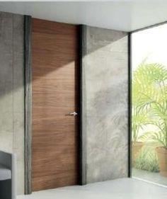 puerta batiente a techo en nogal