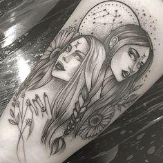 Tattoos on back Gemini Zodiac Tattoos, Gemini Art, Gemini Tattoo Designs, Tattoo Sleeve Designs, Gemini Symbol, Tribal Tattoos, Twin Tattoos, Tattoos Skull, Dope Tattoos