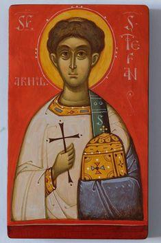 Sfantul Stefan Byzantine Icons, Byzantine Art, Roman Church, Saints, Saint Stephen, Art Icon, Orthodox Icons, Sacred Art, Christian Art