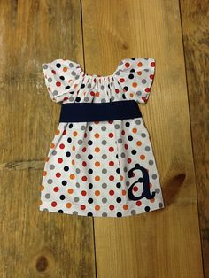 Girls Peasant Dress OR Top. Applique Initial and Sash Detail. Multicolor Polka Dot. Navy Sash and Intitial. Any sleeve. By EverythingSorella by EverythingSorella on Etsy