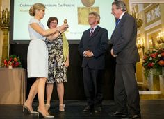 King Willem-Alexander and Queen Máxima, patrons of the Oranje Fonds, presents awarded the Appeltjes van Oranje 2016 and the Oranje Fonds Kroonappels on May, 26, 2016 at the Palace Noordeinde in The Hague. Princess Beatrix was also present.Winners of the appeltjes this year are Foundation de Pracht Ekenrooi, Foundation Dorpshuis Oostwold and Foundation Behoud Leefbaarheid Nieuwer Ter Aa.