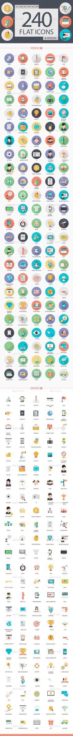 240 Flat Icons Design Vector - Business Icons Design Template PSD, Vector EPS, AI Illustrator. Download here: https://graphicriver.net/item/240-flat-icons/16976541?s_rank=289&ref=yinkira