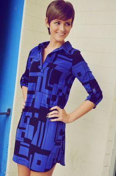 Shape To Shape Dress: Blue/Black