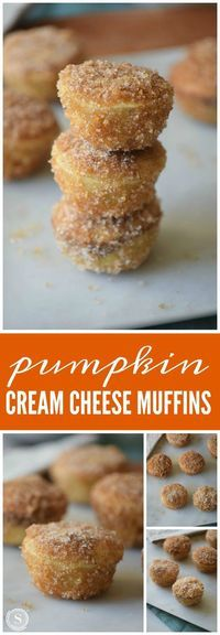 Pumpkin Cream Cheese Muffins! These are some of my favorite fall breakfast and bite sized snack recipes! Perfect for the season of pumpkin, cinnamon, and apples!