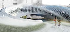 Chris Prechteck Designs an Eye-Catching Curvy Library #spiral #architecture trendhunter.com