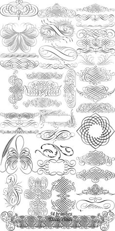 Flourishes - Free brushes (ABR) : Page decor by ~ElizaVladi Arabesque, Karten Tattoos, Tattoo Painting, Pinstriping, Calligraphy Letters, Penmanship, Clipart, Design Elements, Embroidery Designs