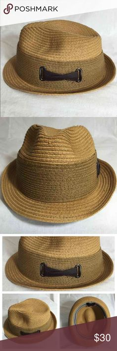 John Callanan Legacy Large Fiber Fedora John Callanan Legacy limited edition natural fiber fedora hat. This hat is an extra-large hat. Nice crossed leather detail on side of slightly darker shade natural fiber wide head band. John Callanan Accessories Hats