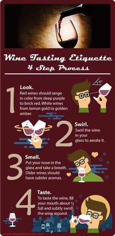 Wine Tasting Etiquette in 4 Simple Steps! Look, Swirl, Smell, and Taste. Lots of great wine etiquette tips and fantastic dining etiquette. Vintage Modern, Dinning Etiquette, Traveling Vineyard, Etiquette And Manners, Wine Tasting Party, Table Manners, Wine Guide, In Vino Veritas, Wine List